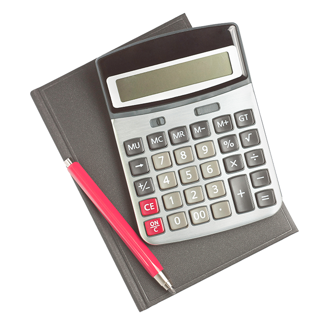 Graphic of a calculator with a pencil on top a notebook